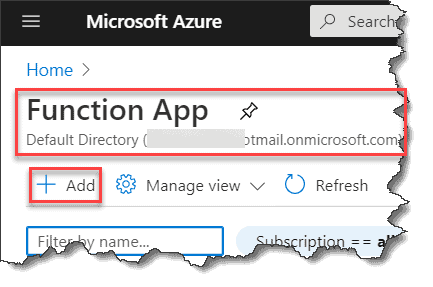 Create Azure Function App with PowerShell In Azure Portal