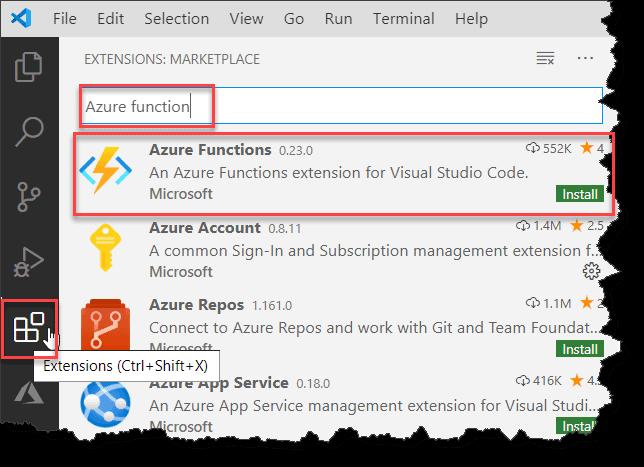 Create Azure Function using Visual Studio Code