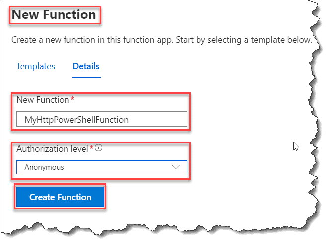 Create Azure Functions using PowerShell from Azure Portal
