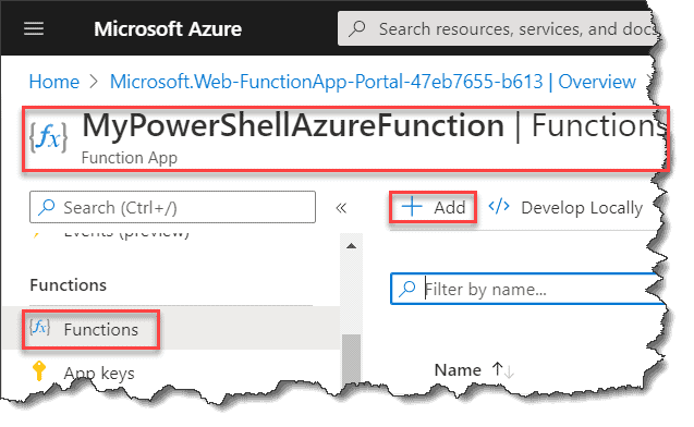 Create Azure Functions using PowerShell in Azure Portal