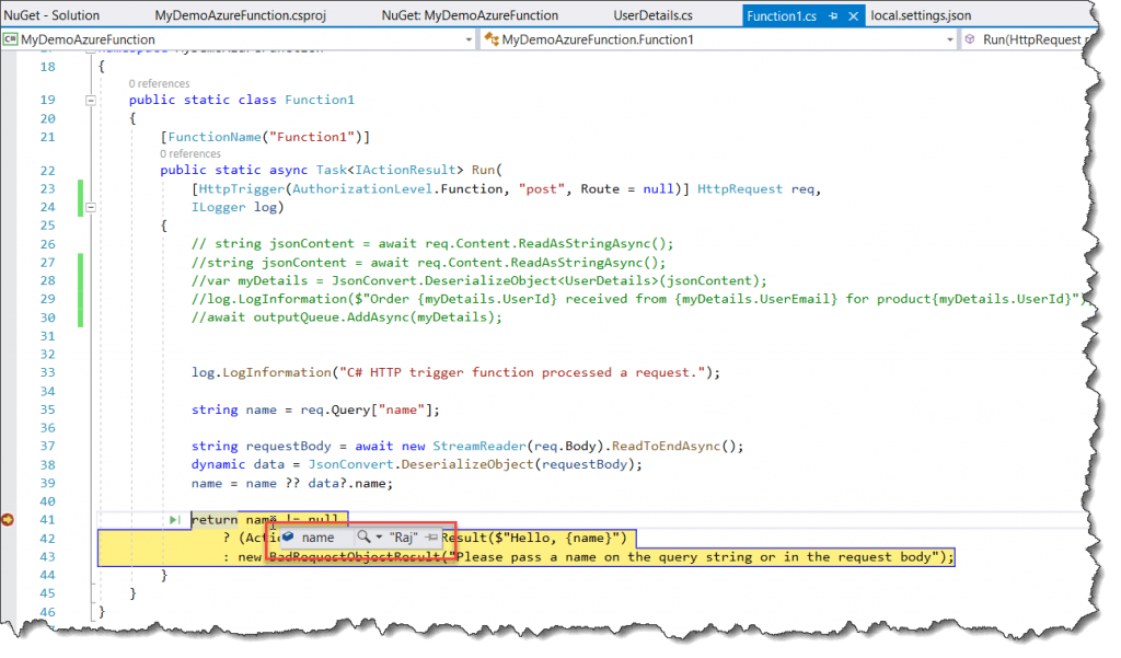 Create a function in Azure using Visual Studio 2019