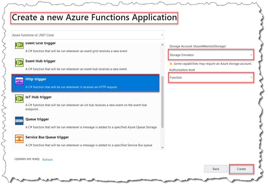 Creating an Azure Functions app in Visual Studio