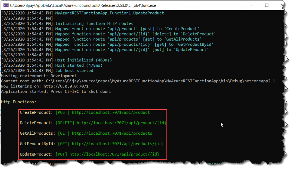 Customize an HTTP endpoint in Azure Functions