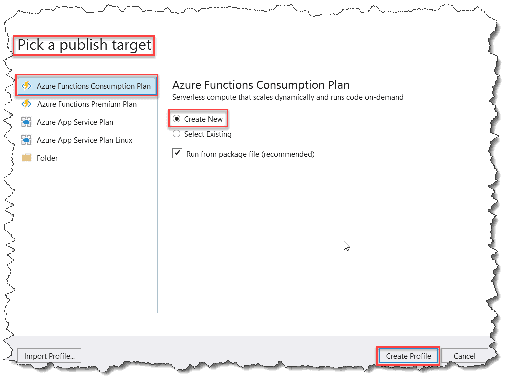 Deploying the Azure Function using Visual Studio