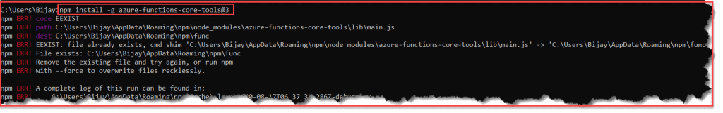 cannot install azure functions core tools visual studio code