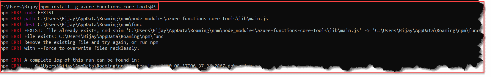 Azure Function Core Tool Not Installing on VS Code