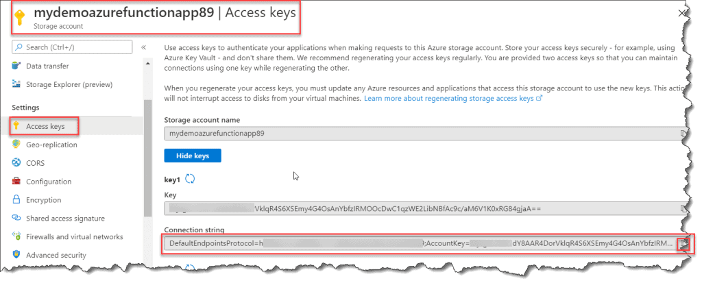 How Do I access Azurewebjobsdashboard Connection String