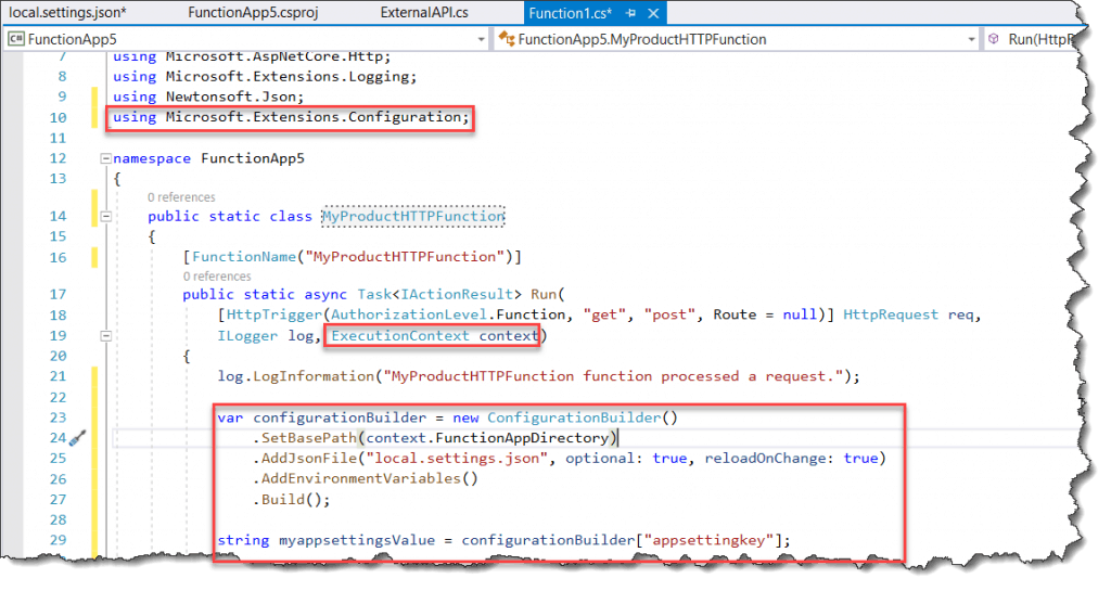 How to Access the App settings in Azure Functions Runtime Version 3