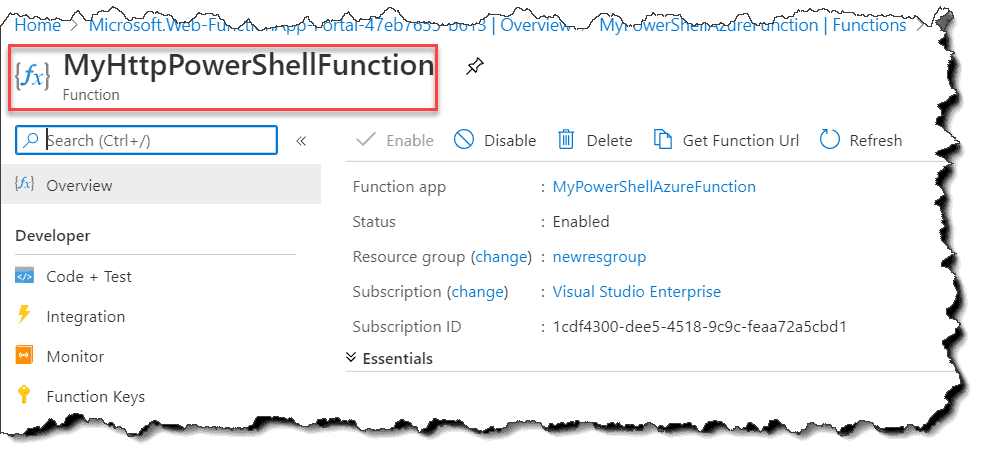 How to create Azure Functions using PowerShell in Azure Portal