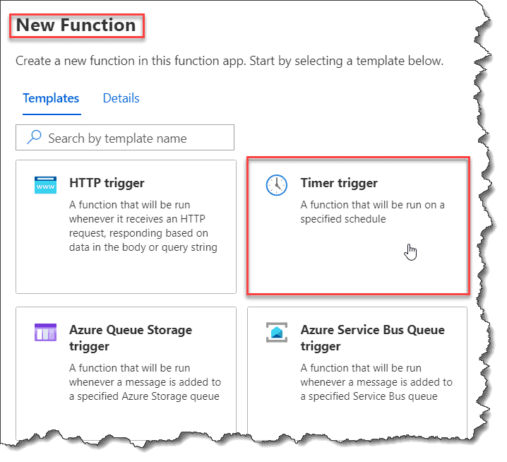 How to create Azure timer triggered function AzurePortal