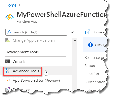 Import PowerShell Module or Package into your Azure Function App