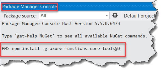Install Azure Functions Core Tools in Visual Studio