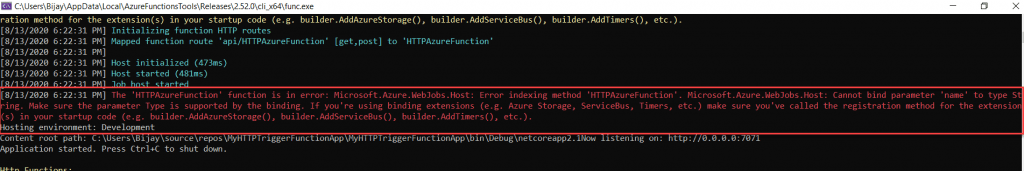 Microsoft.Azure.WebJobs.Host: Error indexing method