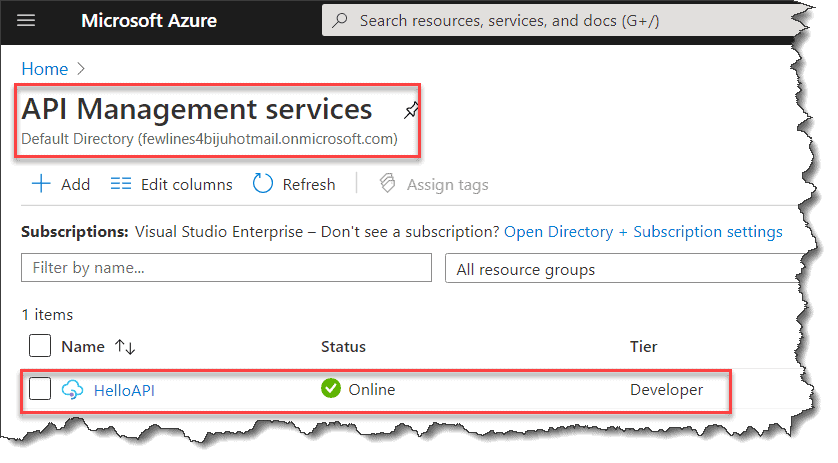 Navigate to your API in Azure Portal