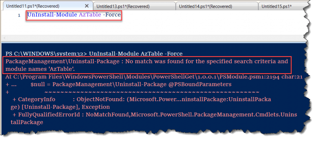 No match was found for the specified search criteria and module names 'AzTable'