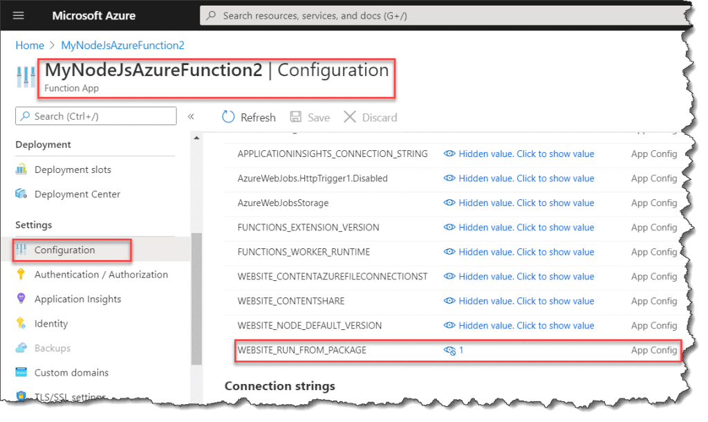 Run Node js Azure Function From Package Configuration