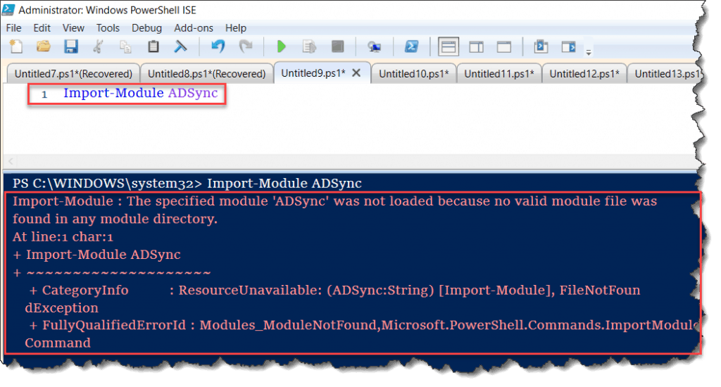 The specified module 'ADSync' was not loaded because no valid module file was found in any module directory