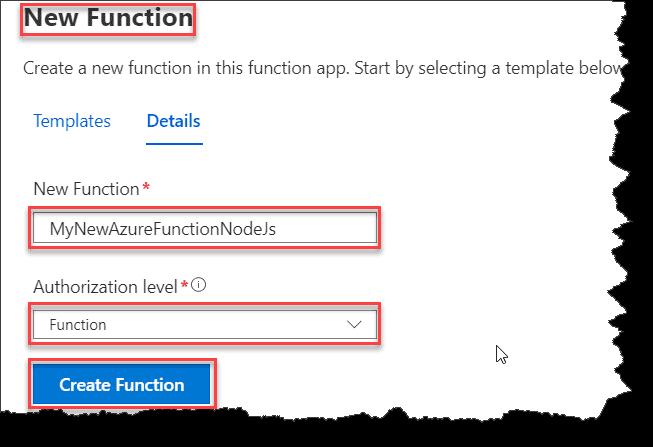 azure function node.js example