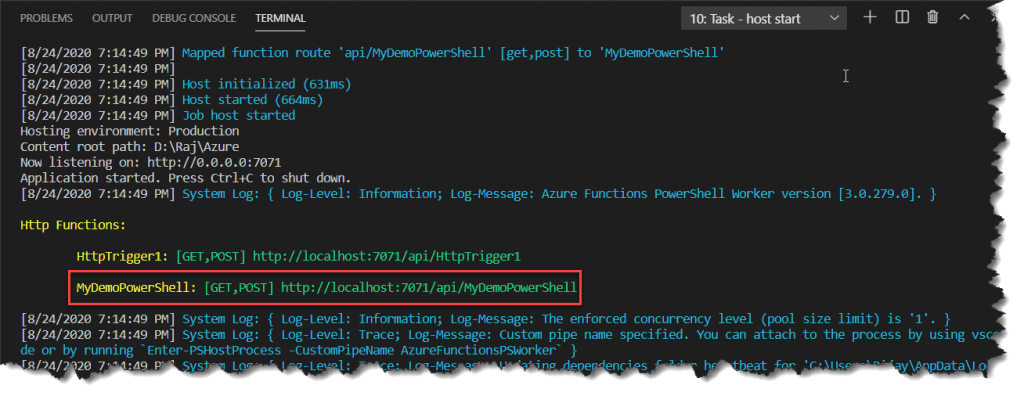 azure function run powershell script