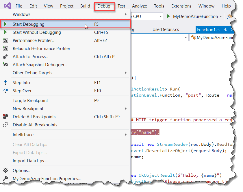 debug azure functions locally visual studio 2019