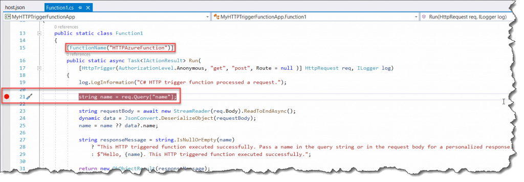 debug azure functions visual studio 2019