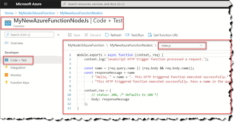 how to create node js azure function