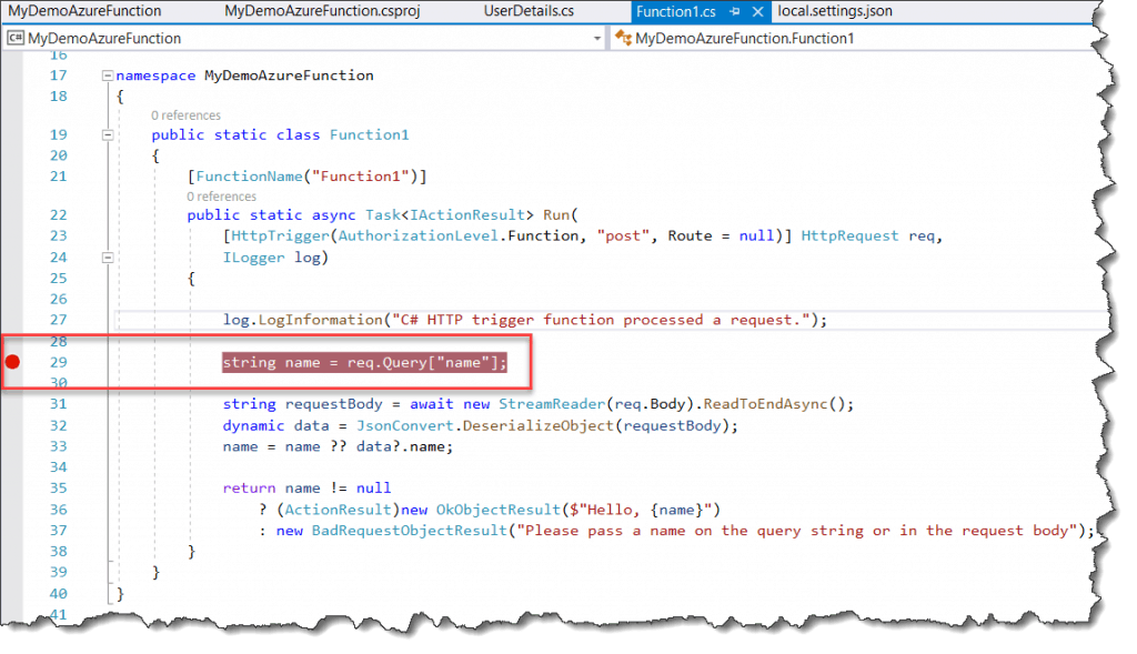 how to debug azure function locally 1