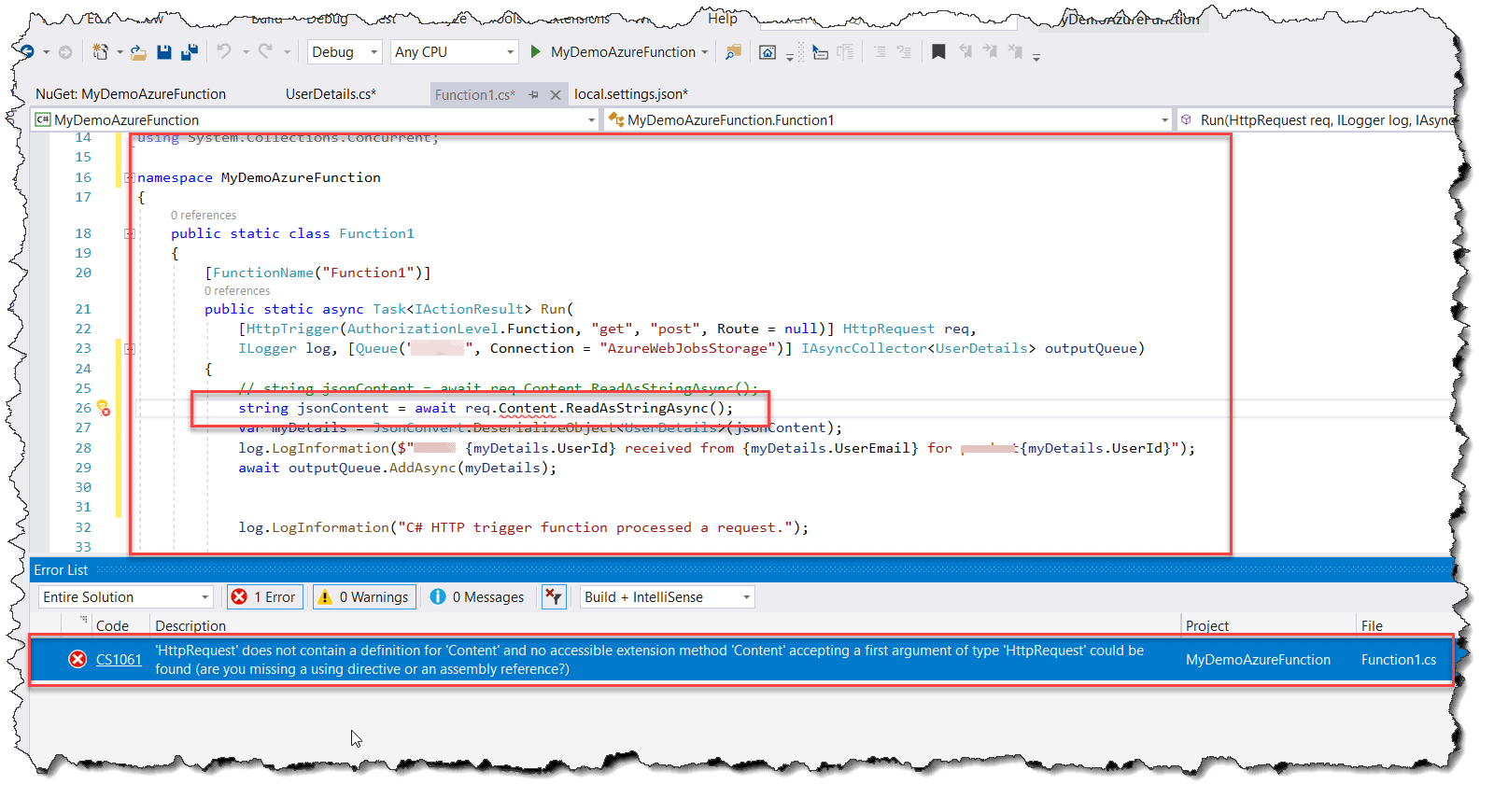 CS1061 C# 'HttpRequest' does not contain a definition for 'Content' and no accessible extension method 'Content' accepting a first argument of type 'HttpRequest' could be found
