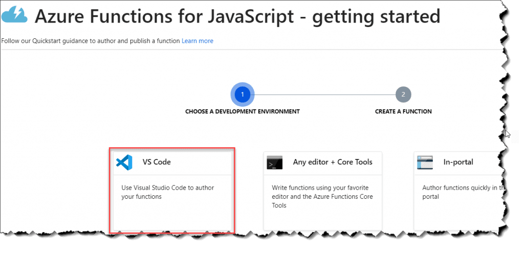 steps to create node js azure functions