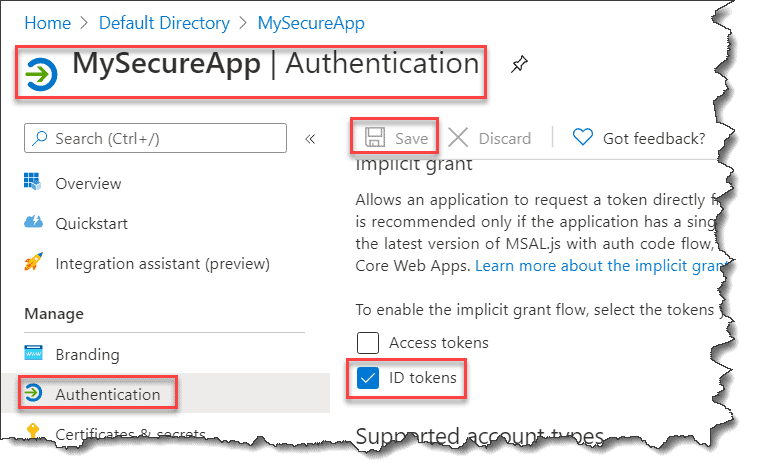 AADSTS700054 response_type 'id_token' is not enabled