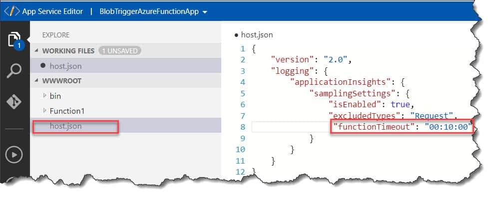 Accessing host.json File In Azure Portal
