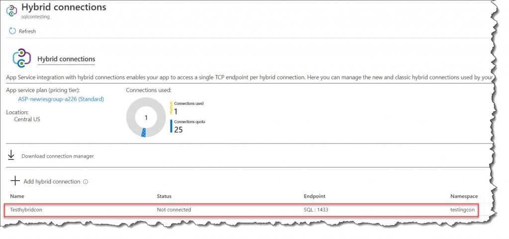 Azure App Service Hybrid Connections
