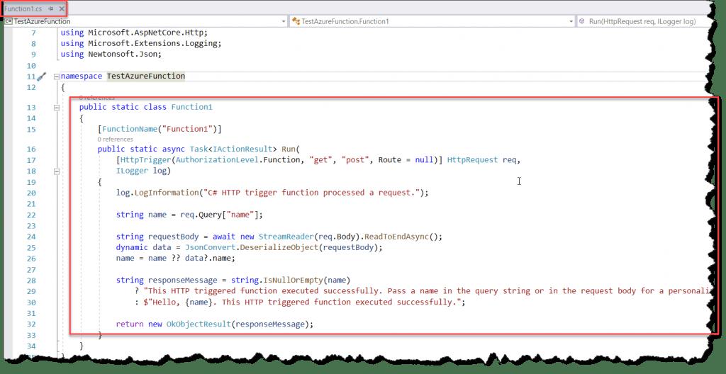 Azure Function Folder Structure visual studio