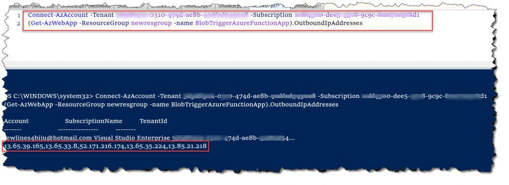 Azure Function Outbound IP Addresses using PowerShell