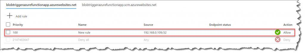 Azure Function Whitelist IP Address using Azure Portal