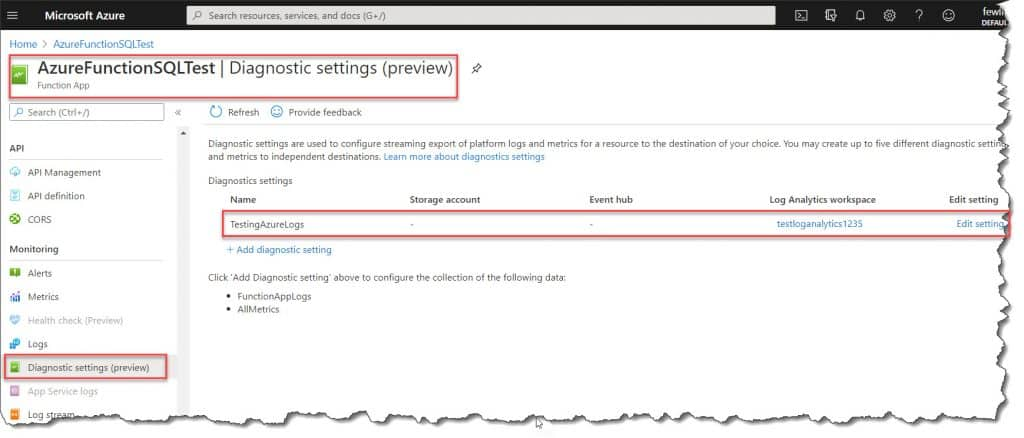 Configure Azure Monitor Logs For The Azure Function using Azure Portal