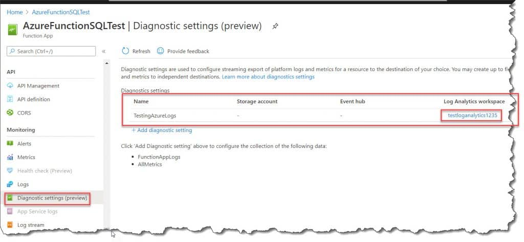 Configure Azure Monitor Logs For The Azure Functions