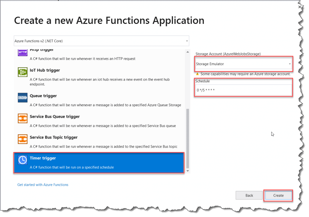 Create Azure Functions Time Trigger From Visual Studio 2019
