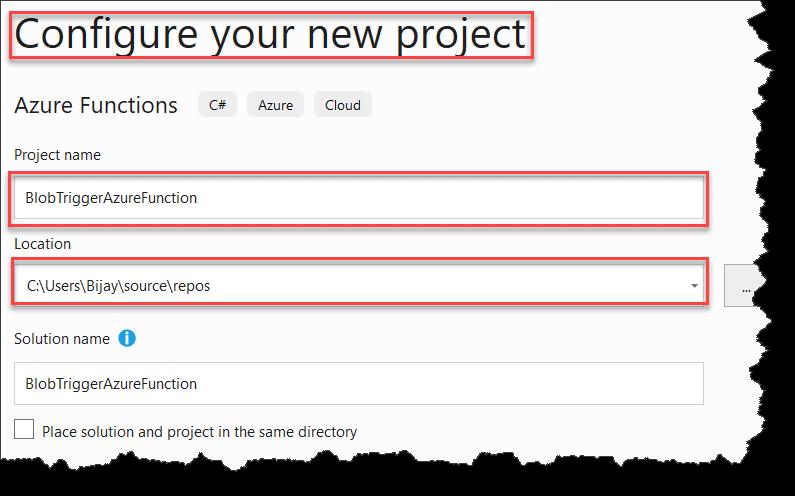 Create Blob Trigger Azure Function In Visual Studio 2017