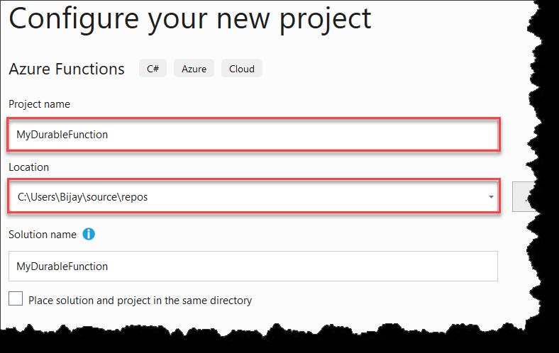 Create Durable Functions Using Visual Studio 2019