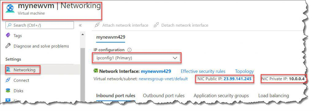Figure out ip address of azure vm