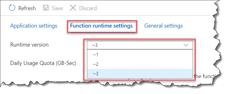 Find Azure Functions Run Time Version
