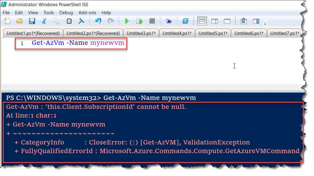 Get-AzVm : 'this.Client.SubscriptionId' cannot be null