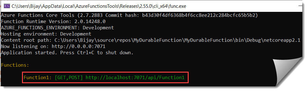 How To Create Durable Function Using Visual Studio 2019