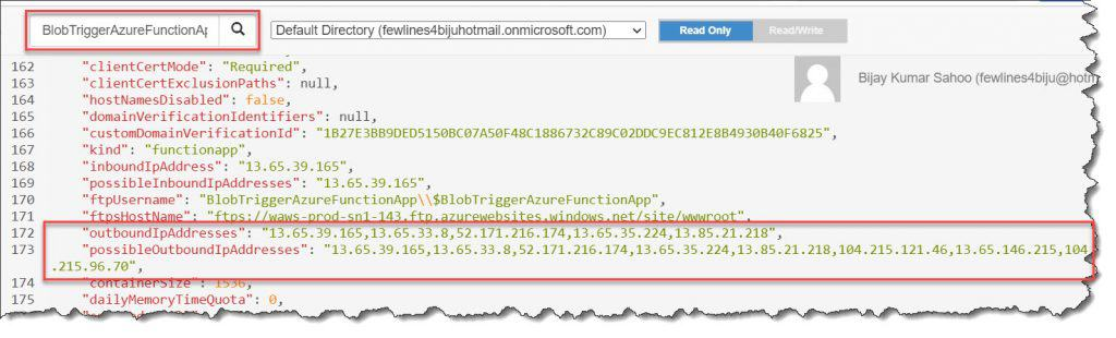 How To Figure Out IP Address For Azure Function