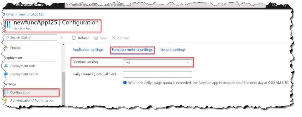 How To Find Azure Functions Run Time Version