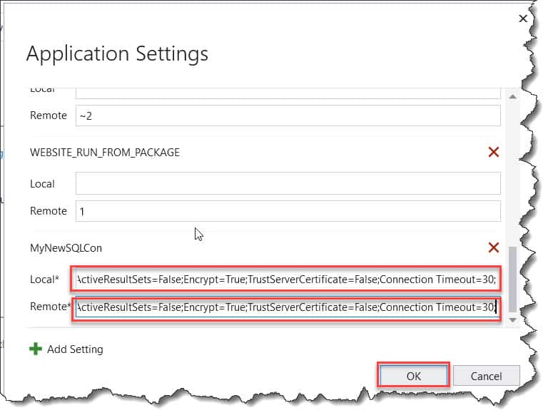 How can I add database connection string to Azure Functions?