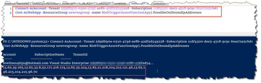 How retrieve Azure Function Outbound IP Addresses using PowerShell