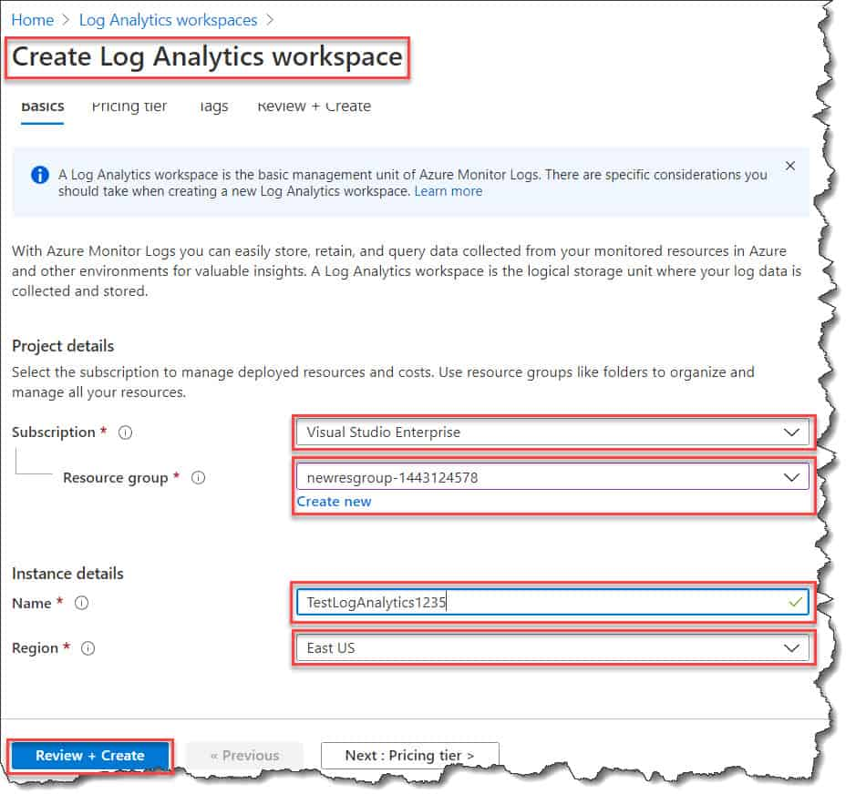How to Create a Log Analytics workspace using the Azure portal