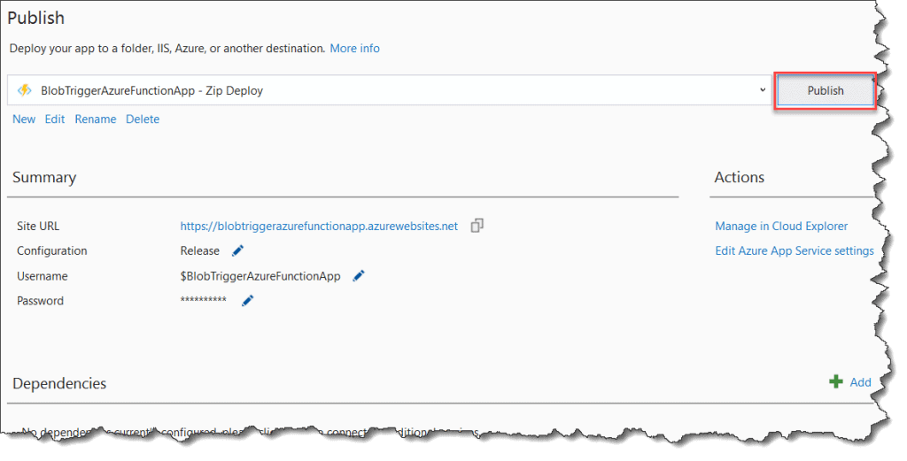 How to Deploy Blob Trigger Azure Function From Visual Studio